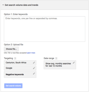 Get search volume data and trends tab on Google Adwords