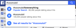 Hashtag search on Facebook