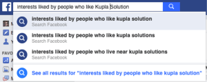 Interests search on Facebook
